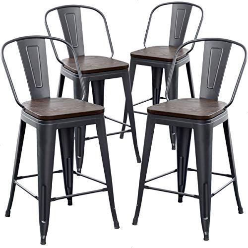 AKLAUS Metal Bar Stools Set of 4 Counter Height Stools with Backs Counter Stools High Back Bar Chairs 24 Inch Matte Black