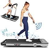 Treadmill,Under Desk Folding Treadmills for Home,2-in-1 Running, Walking&Jogging Portable Running Machine with Bluetooth Speaker & Remote Control,5 Modes & 12 Programs,No Assembly Required (Silver)
