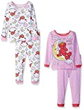 Sesame Street Little Girls' Toddler Elmo 4-Piece Cotton Pajama Set, Pink/White 4T