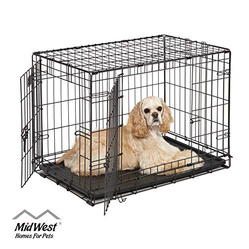 Dog Crate | MidWest ICrate 30 Inch Double Door Folding Metal...
