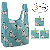Foldable Grocery Bags Large Foldaway Shopping Bags 3 PCS, Cute Animals Dogs Pattern, Mint Green Reusable Shopping Totes, Waterresistant Lightweight Shopper Bags with Long Handle