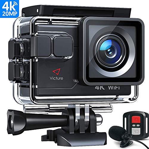 Victure AC700 Action Cam 4K Wi-Fi 20MP Webcam con Controllo Remoto e Microfono Esterno Funzione EIS Antivibrazioni e Slow Motion, due Batterie e Molteplici Accessori