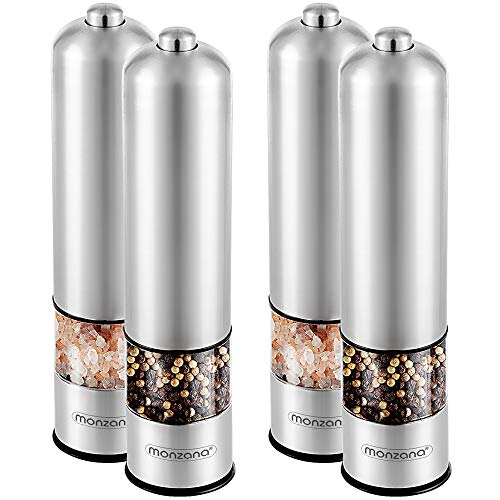 Monzana - Elektrische Salz und Pfeffermühle 2er Set - Edelstahl Gewürzmühle mit verstellbarem Keramikmahlwerk von fein bis grob - Einhandbedienung mit LED-Licht