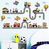 WandSticker4U®- stickers muraux enfants TRAFIC ROUTIER (240x110 cm) I voiture autocollants camion pompier véhicule avion animaux I sticker mural pour chambre d'enfant bébé garçon crèche
