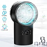 Portable Air Conditioner Fan, KUUOTE Mini Evaporative Cooler with 7 Colors Night Light, Personal Space Air Cooler Quiet Desk Fan Humidifier Misting Fan for Small Room Bedroom Home Office