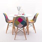Homely - Conjunto de Comedor Tower Patchwork con Mesa lacada Blanca y 4 sillas, de Estilo nórdico-Vintage - Redonda 100 cm