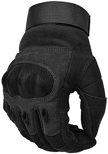 COTOP Unisex– Erwachsene, Touch Screen Hard Knuckle Handschuhe Motorrad ATV Reiten Full Fing (XL), schwarz
