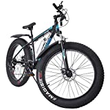 26 in Fat Tire Mens Mountain Bike 21 Speed Snow Bike, 17in Medium High Tensile Aluminum Frame[US in Stock]