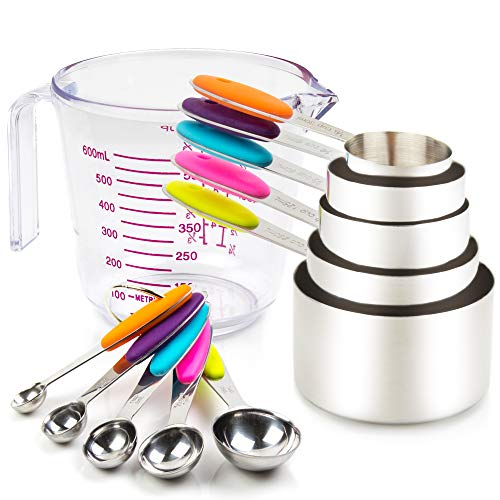 Stainless Steel Measuring Cups and Spoons Set 11 Piece 304 Stainless Steel Dishwasher Safe Including 5 Piece Measuring Cups and 5 Piece Measuring Spoons and 1 Transparent Plastic Measuring Cup