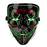 Qhome LED Light up Purge Mask for Festival Cosplay Halloween Costume Green, Large