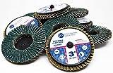 Benchmark Abrasives 3' Quick Change Zirconia Flap Discs - 10 Pack (40 Grit)