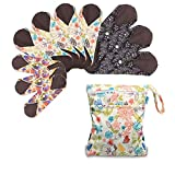 Teamoy 10Pcs Sanitary Pad, Reusable Washable Cloth Menstrual Pads/Panty Liners with Wet Bag, Super-Absorbent, Soft and Comfortable(3pcs×7.9'+4pcs×10'+3pcs×11.6')…