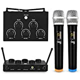 Portable Karaoke Microphone Mixer System Set with Dual UHF Wireless Mic, 3.5mm AUX/Optical/Coaxial In Singing Receiver for KTV, Amplifier, Speaker