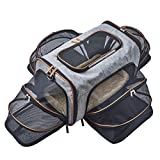 Petpeppy.com Four Sided Expandable Pet Carrier - Airline Approved - Luxury Tote Exterior, Designed for Cats, Dogs, Kittens, Puppies - Extra Spacious Soft Sided Carrier! (4-Way Expandable)