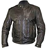 Xelement B7496 'Bandit' Men's Retro Distressed Brown Leather Motorcycle Jacket with X-Armor Protection - Large