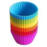 IdealHouse - 24moldes de silicona para magdalenas. Moldes reutilizables con colores del arcoíris,...