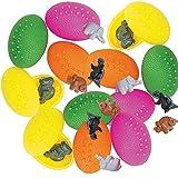 Kicko Plastic Dinosaur-Filled Easter Eggs - 12 Pack, 2 Inch Pre-filled Dinosaur Easter Egg - Egg Hunting Prize, Treasure Chest Filler, Educational Toy