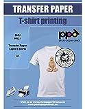 PPD 20 x A4 Papier Transfert Tee-Shirt / Textiles Blancs ou Clairs, Fond...