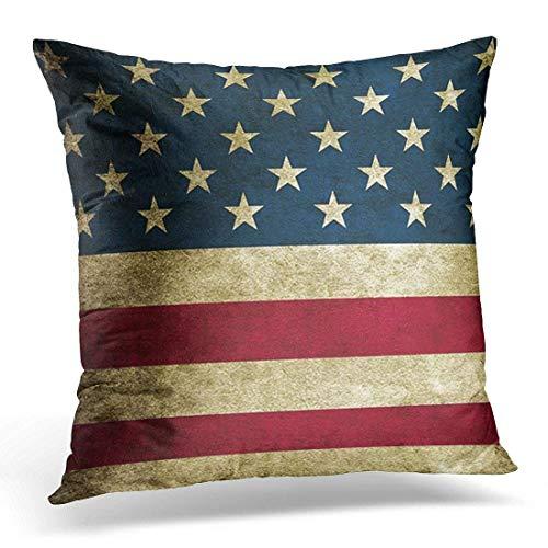 artyly Funda de cojín AlmohadaAlgodón Vintage rústico país Bandera Americana patriótico Pillowcase 45x45 cm