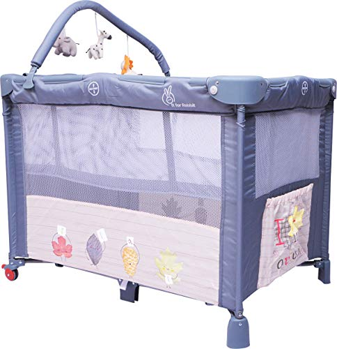 R for Rabbit Hide & Seek Baby Cot Bed Folding & Convertible Baby Cot Playpen Play Yard for Kids...