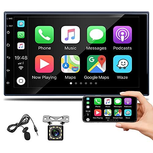 Bluetooth Autoradio 2 din avec Apple CarPlay Et Android Auto, écran Tactile Capacitif De 7 Pouces, Récepteur FM Mirror Link, Commandes Au Volant Et Caméra De Recul