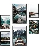 Heimlich® Tableau Décoration Murale - sans Cadres - Set de Poster Premium pour la Maison, Bureau, Salon, Chambre, Cuisine - 2 x (30x42cm) et 4 x (21x30cm) | »Lac de la Forêt «