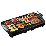 """IKICH Electric Grill Indoor 2-in-1 Pancake Griddle 16.73""""x 8.94""""Grill Smokeless Non-Stick with Cool-touch Handle, 5-Level Control, 1600W"""