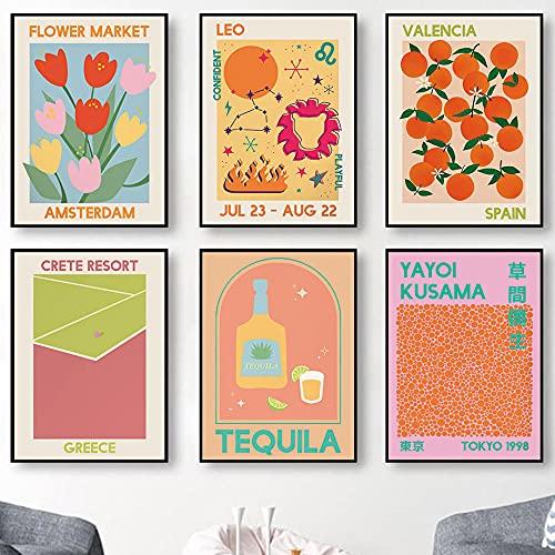 Resumen Matisse Cóctel Vodka Zodíaco Astrología Arte de la pared Pintura en lienzo Carteles nórdicos e impresiones Imágenes de pared para decoración del hogar | 30x42cmx6 Sin marco