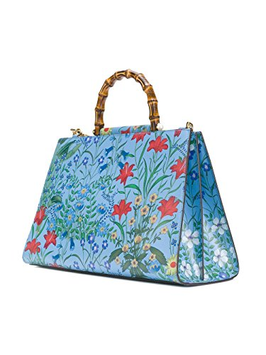"""51jI3Tu8dFL Gucci Authentic Dimensions: 15""""L x 6""""W x 10""""H Handle 3.1"""" Strap drop 17"""" Made in Italy. Shanghai Blue New and never has been used This bag has tags, controlled card, care booklet, dust bag. Blue leather Nymphaea flora tote bag from Gucci featuring a floral print Gold-tone hardware A top snap closure Internal slip pockets An internal logo patch A structured top handle with signature bamboo and pearl like studs. A detachable blue and red Web detail shoulder strap Two interior compartments divided by a stiff partition"""