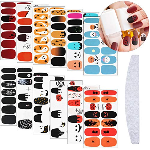 336 Pieces 24 Sheets Halloween Nail Polish Wraps Nail Art Wraps Stickers Nail Art Adhesive Polish Stickers Nail Strips Design with Nail File for Christmas Halloween Women Girls Manicure DIY Nail Salon