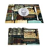 L'sWOW Juego de 8 maletas lavables antideslizantes resistentes al calor para mesa de comedor de cocina, decoración vintage colorida, estilo antiguo L, para mesas fiestas y otras ocasiones especiales