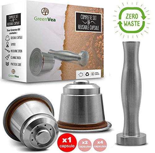 Greenvea - Set completo di capsule di caffè Nespresso ricaricabili e riutilizzabili. Capsule...