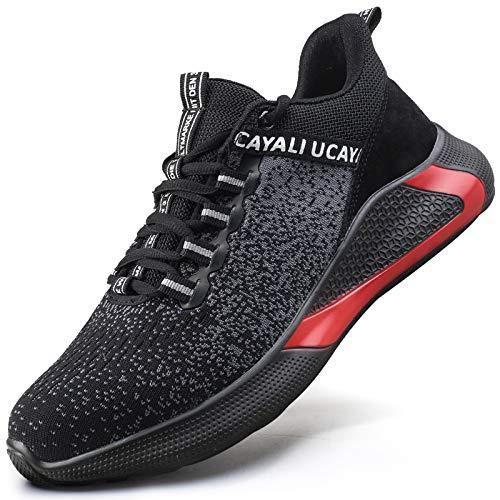 UCAYALI Zapatos de Seguridad Hombre Mujer Anti-Piercing Zapatos de Trabajo Punta de Acero Antideslizante Calzado Seguridad Deportivo Negro Gr.41