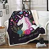 FairyShe Cute Sherpa Throw Blanket for Girls, Cartoon Plush Blanket with Flowers Little Beast,Soft Worm Fleece Blanket Kids Adult for Crib Bed Couch Chair Living Room(50'x60',Flowers )