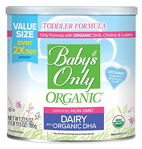 Baby's Only Organic Dairy with DHA Toddler Formula, 27.5 Oz (Pack of 6) | Non GMO | USDA Organic | Clean Label Project Verified | Brain & Eye Health | Value Size