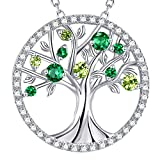 GinoMay Tree of Life Necklace for Women May Birthstone Green Emerald Peridot Necklace for Mum Wife Birthday Gifts Sterling Silver Fine Jewellery