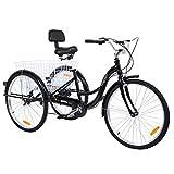 MuGuang Triciclo Adulto 26' 7 velocidades Bicicleta 3 Ruedas Adulto con Cesta de la Compra(Negro)
