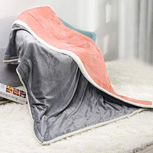 Yorbay Heizdecke 180 x 130 cm, Elektrische kuschelige Wärmedecke, mit Abschaltautomatik, Überhitzungsschutz und Timer, mit 3 Temperaturstufen, Waschbar, Doppelseitiges Rosa mit Grau