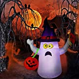 Hip Mall Halloween Inflatable Ghost, 4ft Lighted Blow Up Ghost Witch Hat Jack-O-Lantern Halloween Indoor Outdoor Yard Lawn Decoration (Black)