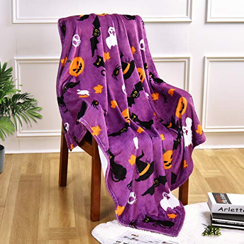 Halloween Blanket, Purple Throw Blanket, Halloween Decorative Bed Blanket, Cozy Soft Lightweight Flannel Blanket, Ghost Pumpkin Cat Blanket Halloween Decor for Bed Sofa Couch Chair, 50 x 60 Inches