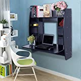 Binrrio Wall-Mounted Computer Desk, Storage Tray Floating Desk, Wood...