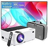 Proyector Nativo 1080P Full HD 7500 lúmenes,Soporte 4k Mini proyector de Video Compatible Ajuste...