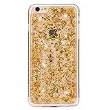 iPhone 6S Plus Case,iPhone 6 Plus Case, UZZO 3D Gold Paillette Luxury Shiny Sparkling Diamond Jeweled Design Clear Transparent Soft TPU Silicone Hybrid Bumper Case for iPhone 6/6S Plus 5.5 inch