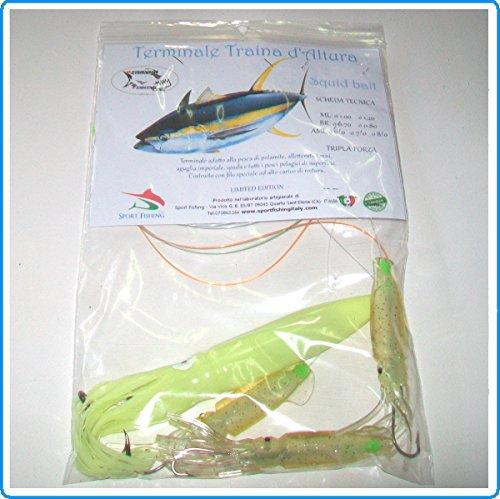 Piranha Fishing Line Finale TRAINA ALTURA Squid Bait 24CM YAKO Fluo Pesca TONNO Pesce Spada Marlin