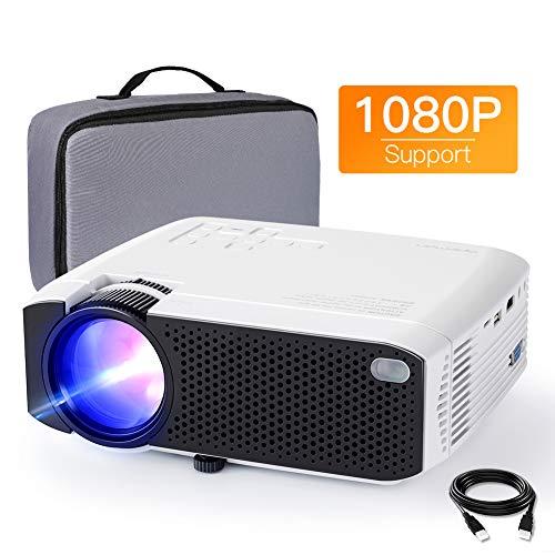 Beamer APEMAN Mini Beamer 1080P Full HD Video Projiziert mit Tasche Geräuscharm Projektor LED 50000 Stunden Heimkino HDMI/TF/USB iOS/Android Laptop/TV Box Handybeamer Dunkle Umgebung Mehrweg