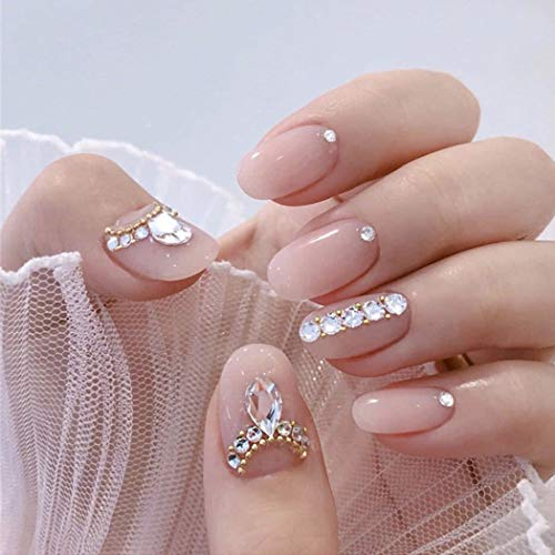 Asooll Glossy Nude Color Crystal False Nails Medium Round Full Cover Acrylic Fake Nails Wedding Party Prom Clip Press on Nail for Women and Girls(24Pcs)
