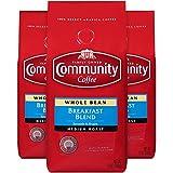 Community Coffee Breakfast Blend Medium Roast Premium Whole Bean 12 Oz Bag (3 Pack), Medium Full Body Smooth Bright Taste, 100% Select Arabica Coffee Beans
