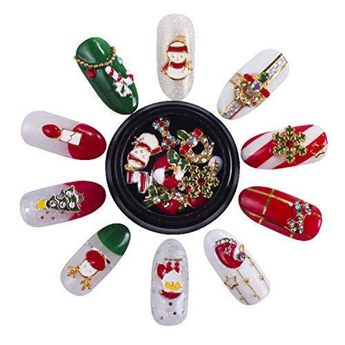 Gofypel 3D Christmas Nail Art Metallic Nail Glitter Rhinestones Gems Alloy Nails Decals DIY Xmas Nail Sticker Decoration with Santa Snowflake Snowman Reindeer Tree Bell Nails Accessories 20 Pcs