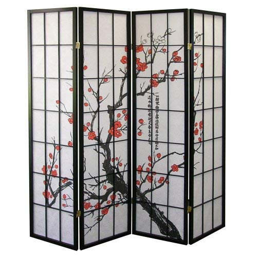 Roundhill Furniture Black Japanese 4-Panel Screen Room Divider,...