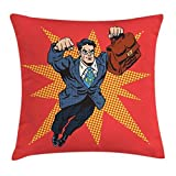 Retro Throw Pillow Cojín, Empresario superhéroe con maletín musculoso Estilo cómic Ilustración de Arte Pop, Funda de Almohada Decorativa con Acento Cuadrado,